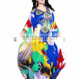 Women's MultiColour Satin Silk 3D Digital Printed Smart Kaftan / Latest Digital Printed Kaftan for Party Wear (kaftans Dress)