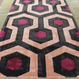 Black Red And Orange Rugs Wool And Nylon Hand Made Living Room Geometric Area Rug