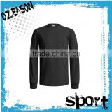 Polyester/cotton high quality plain black men's long sleeves collar t-shirt
