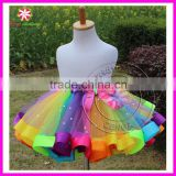 2015 newest baby girl skirt kids rainbow tutu skirts hot selling pettiskirt tutu for custome party wedding