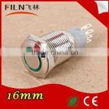 FLM16S-F11-E 50pcs/lot 16mm Flat Round Metal 24v Green Led Latching pcb push button switch