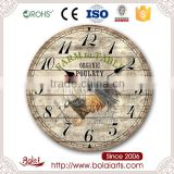 Continental rooster antique annunciation mdf printable material art wall clock for restaurant