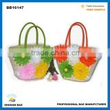 fashion beach bag with flower accessory hot sales women beach bag high quality beach tote bag