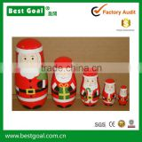 Bestgoal Best Seller Santa wooden dolls chirstmas matryoshka wooden craft russian nesting dolls