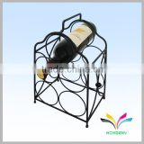 China manufacturer high quality hot sale fancy beautiful display rack antique red wine metal wire curved glass shelf