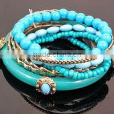 Bohemia multilayer folk style acrylic bead imitation jade bangle bracelet                                                                                                         Supplier's Choice