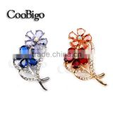 Fashion Jewelry Colorful Crystal Flower Pin Brooch Women Lady Dresses Hijab Scarf Party Promotion Gift Appreal Accessories
