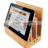 Universal desktop multi wooden bamboo cell mobile phone charging station for tablet