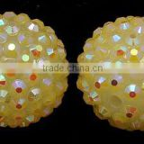 20mm Chunky Bulk Bubblegum Resin Rhinestone Ball Beads Yellow(CLAY-G007-11)