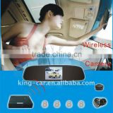 12voltage waterproof sensor car rearview ccd camera 4.3 inch TFT rear view mirror display wireless car parking aid system