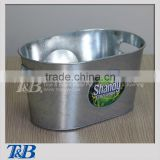 10QT Galvanized Pail Beer Drinking Inner Handles Oval Ice Bucket