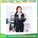 OEM 30% Wool & 70% Polyester One Button Fashionable Business OL Women Black Pants Suit