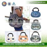 QQ Pet Factory 2015 Hot popular latest fashion cat dog face messenger bag handbag with strap