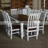 Antique Dining Table Set - White Painted Provencial Furniture