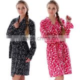 2016 New Women Polyester Printed Microfiber Fleece Sleepwear Ladies Micro Polar Fleece Kimono Bathrobes