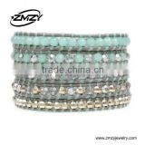 Handmade Jewelry Patterns Natural Stone With Crystal Beads fashion Accessory Leather Wrap Bracelets