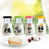New product high borosilicate glass milk bottle glass pudding jar handmade glassware OEM 400ml