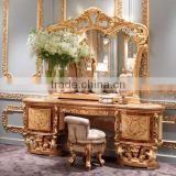 Golden Furniture Queen Anne Bedroom Set, Luxury Wood Carved & Painted Dresser With Mirror, Vitoria Style Dressing Table