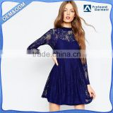 100% Polyester Round neckline Lightweight Babydoll Model Women Sexy Casual Lace Dress