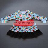 Baby fall boutique clothing remake little girls cotton frocks designs dress long sleeve balloons print top kids icing clothes
