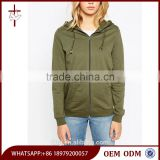 100% Cotton High Quality Zip Up Front Khaki Green Ladies Gym Hoodie