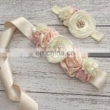 Satin Floral Sashes & Headbands Set Baby Champagne Flower Lace Bows Belt With Pearl Bridesmaid Hairbands