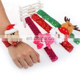 Christmas Led Light Up Slap Bracelet Wrist Bands Party Decor Pat Circle Hand Ring Santa Claus