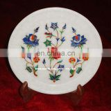 Marble Flower Inlay Antique Plate Home Decorative