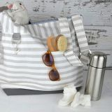washable and durable shoudler bag with stripe fabric