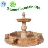 Pink Marble Garden Water Fountain With Pool