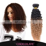 Hot selling omber color 1b/27 kinky curly indian hair extension
