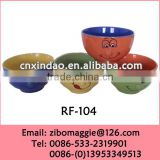 Round Shape Colored Ceramic Bowl with Smile Face for Tableware Unique Soup Bowls