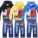 2015 New Spring Hero Sets Boys Big Hero 6 Suits Children Cartoon Clothing set Boy Hoodies + Jean Kids Sport Clothes 3 Colors