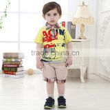 2015 Best selling baby two piece boys T-shirts casual suit kids summer preppy style printed sets
