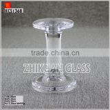 hot sales design hand press clear glass taper candle holders