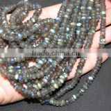 "Fire Labradorite 100% Natural Faceted Roundlle Beads 18"" Inches 6.5X7MM Approx Good Quality On Wholesale Price."