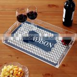 wholesale customized clear rectangle high quality acrylic wine cup service tray with insert paper,acrylic food tray/dish