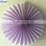 Popular Purple Color Wedding Occasion Wall Hanging Paper Fan Stage Decoration with Paper Craft