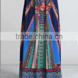 latest design elastic band beach rayon maxi long boho skirt