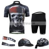 2014 sublimation printing skeleton Devil design Sportswear full polyester cycling jersey shorts arm sleeves caps bandana suit