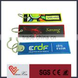 2015 hot sell custom logo woven fabric keychain with metal ring