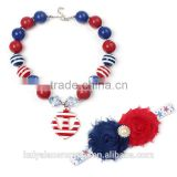 For 4 th of July Toddler necklace, chunky bead with headband,BubbleGum style,spear pendent