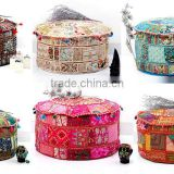 Indian Bohemian Patchwork Ottoman Cover Indian Beaded Ottoman Pouf Covers