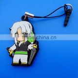 rubber custom mobile phone pendant with earphone dust plug