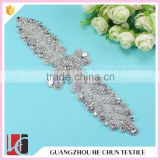 HC-4923 China Guangzhou Hechun Bling Bead Rhinestone Iron on Crystal Applique for Wedding Clothes