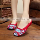 Summer Women Casual Cotton Linen Slippers Sandals Chinese Style Embroidered Ladies Canvas Flat Shoes Oxford Sole No logo