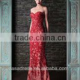 2014 New Fashion Sweetheart Mermaid Gown with Lace Appliqued Latest Design Formal Evening Gown (EVRK-1009)