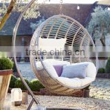 hot sale indoor outdoor patio rattan wicker hanging egg swing chair with metal stand