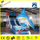 attractive and durable shark inflatable water slide with two pools