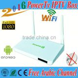 free forever watch IPTV box Arabic IPTV Box PowerTv X6 HD Android 4.4 tv box Wifi receiver tv BN sport channels kodi